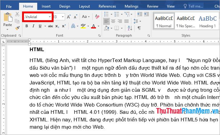 Sử dụng font TCVN3