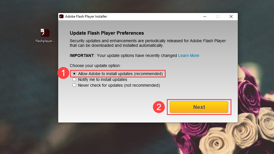 chon muc allow adobe to install updates recommend