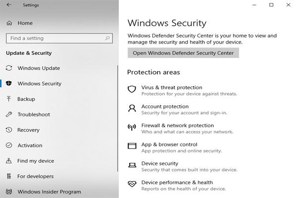 Hệ thống bảo mật của Windows